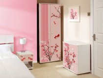 Luxurious Girls Bedroom Furniture with White Bed: Pink Floral Bedroom Modern Girls Bedroom Furniture Tall Closet ~ rugdots.com Bedroom Designs Inspiration